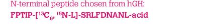 N-terminal peptide chosen from hGH: FPTIP-[13C6, 15N-L]-SRLFDNANL-acid